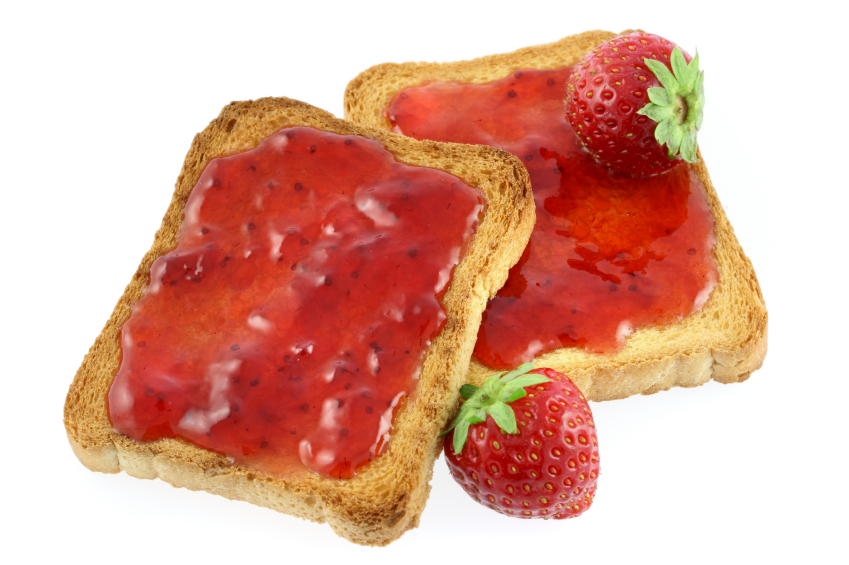 2 x thick slices of toast with strawberry jam